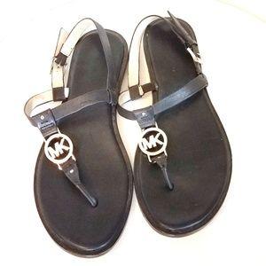 Michael Kors Black Leather Thong Sandals